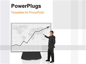 PowerPoint template displaying a professional person with a graph on a screen