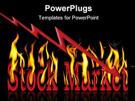 PowerPoint template displaying the words stock market on fire with blackish background