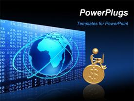 PowerPoint template displaying 3D graphics of a man sitting on a gold coin