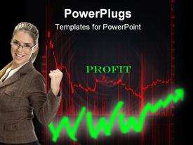 PowerPoint template displaying business woman celebrating profit, red stock market chart, green upward trend arrow