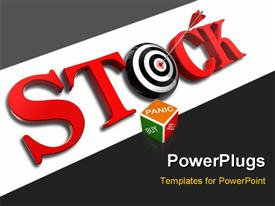PowerPoint template displaying the word stock with a dartboard and grayish background