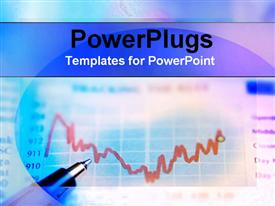 PowerPoint template displaying ball point pen on multi-colored Binary options chart