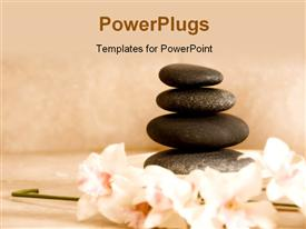 PowerPoint template displaying day spa stone and orchids for stone therapy in the background.