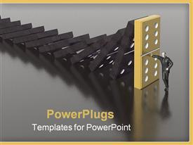 PowerPoint template displaying domino and man (see more in my portfolio) in the background.