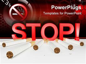 PowerPoint template displaying seven cigarettes and 3D red stop sign with no smoking sign in the top left corner on red cells background