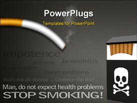 PowerPoint template displaying stop smoking campaign posters with a list of diseases caused by smoking