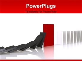 PowerPoint template displaying red domino blocking the fall - a 3D depiction