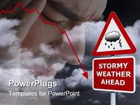 Concept signpost with Stormy Weather Ahead against a dark cloudy sky presentation background