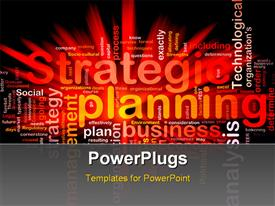 PowerPoint template displaying various words related to planing in the background