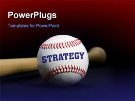 Baseball saying strategy in front of the handle of a bat powerpoint theme