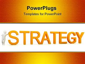 PowerPoint template displaying various scripts in the background with the word strategy