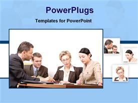 PowerPoint template displaying four tiles showing corporately dressed business people having a meeting