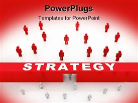 PowerPoint template displaying strategy theme with red bar, white people walking through door to join red  people