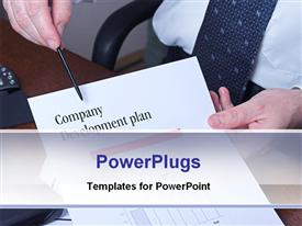PowerPoint template displaying business man holding paper and pen with company development plan