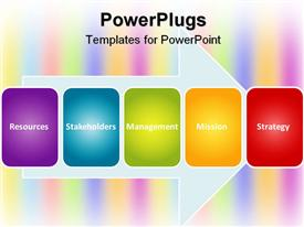 PowerPoint template displaying colorful tiles on arrow showing words resources, stakeholders, management, mission, strategy, business related words on rainbow colored background