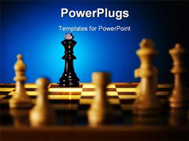 Close up view of the chess on blue background powerpoint theme