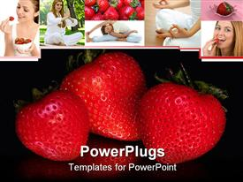 Three strawberries reflected in mirror below it powerpoint template
