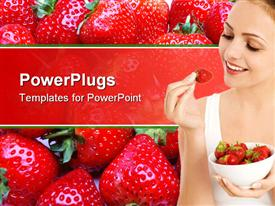 PowerPoint template displaying a girl holding the strawberry with strawberries in the background