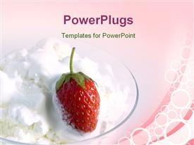 PowerPoint template displaying a strawberry with a pinkish background and place for text