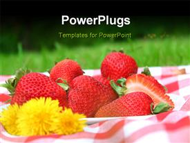 PowerPoint template displaying a plate of freshly cut red strawberries with a yellow flower