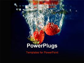 PowerPoint template displaying a number of strawberries inside water