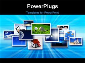 PowerPoint template displaying streams of depictions symbolizing the new technology and media environment in the background.