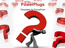 Man carrying a heavy question mark powerpoint design layout