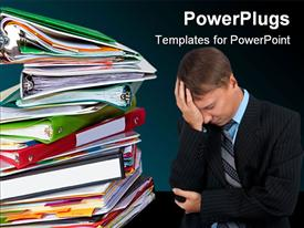PowerPoint template displaying stack of multi colored folders with a frustrated man