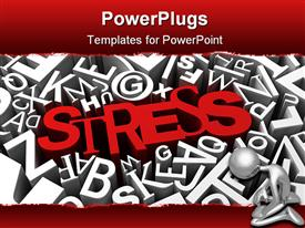 Stress concept with red letters over busy background presentation background