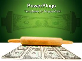 PowerPoint template displaying stretching the us dollar isolated over white in the background.