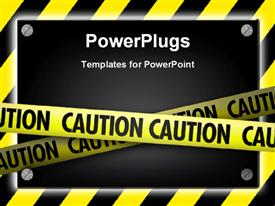 PowerPoint template displaying silver screws glowing over yellow striped hazard