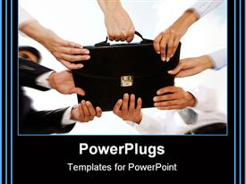 PowerPoint template displaying four pairs of human hands holding a black brief case