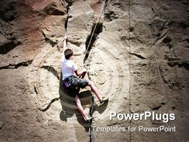 PowerPoint template displaying rock Climbing a 5-10a route in Billings, MT