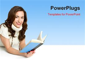 PowerPoint template displaying a pretty yound lady holding a blue covered book