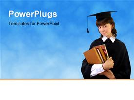 Beautiful young student girl with books powerpoint theme