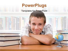 PowerPoint template displaying a kid with a number of books and books in the background
