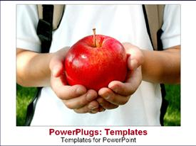PowerPoint template displaying boy in white with a back pack holding a big red apple