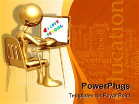 PowerPoint template displaying a figure working on a laptop with words in the background