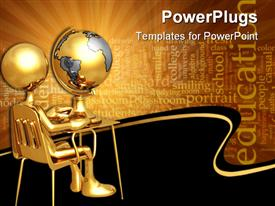 PowerPoint template displaying gold figure sitting at small desk with globe and education word cloud