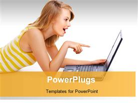 PowerPoint template displaying beautiful lady smiles with surprised expression as she points to laptop screen