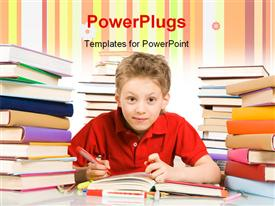 PowerPoint template displaying cute youngster sitting among stacks of literature with open book in front of him