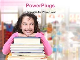 PowerPoint template displaying happy Girl With Books in Class School Looking Sideways Into Copy Space for Your Text in the background.