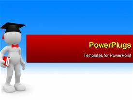 PowerPoint template displaying a graduate holding the books with bluish background