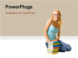 PowerPoint template displaying isolated young happy beautiful woman with books