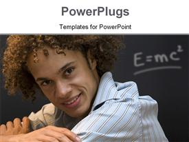 PowerPoint template displaying nice guy smiling during a lecture in the background.