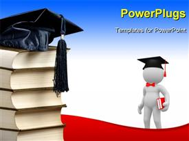 PowerPoint template displaying a person who is graduating looking towards the bundle of the books