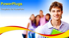 PowerPoint template displaying male student smiling with a group behind him