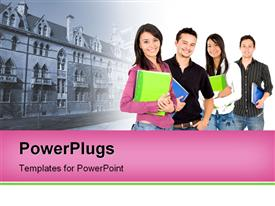 Casual group of college students smiling powerpoint design layout