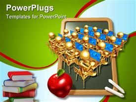 PowerPoint template displaying lots of golden characters wit an apple and books