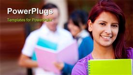 Female student carrying notebooks outdoors and smiling presentation background